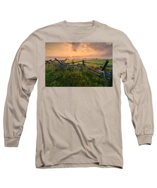 Sunrise At Gettysburg National Park Long Sleeve T-Shirt by Craig Szymanski