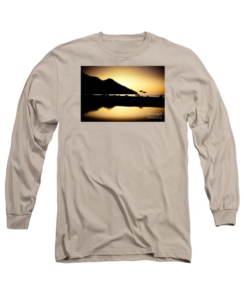 Sunrise At Sea Coast Brown Long Sleeve T-Shirt