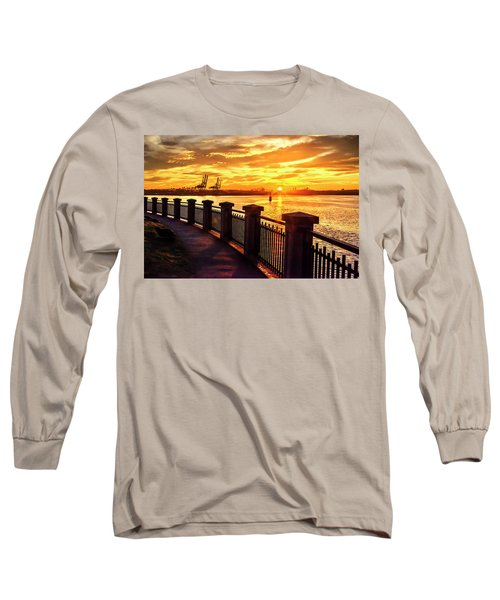 Long Sleeve T-Shirt featuring the photograph Sunrise At The Harbor by John Poon