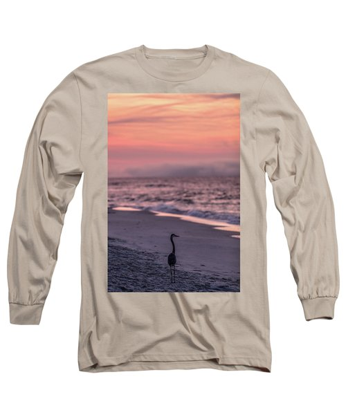 Long Sleeve T-Shirt featuring the photograph Sunrise Beach And Bird by John McGraw