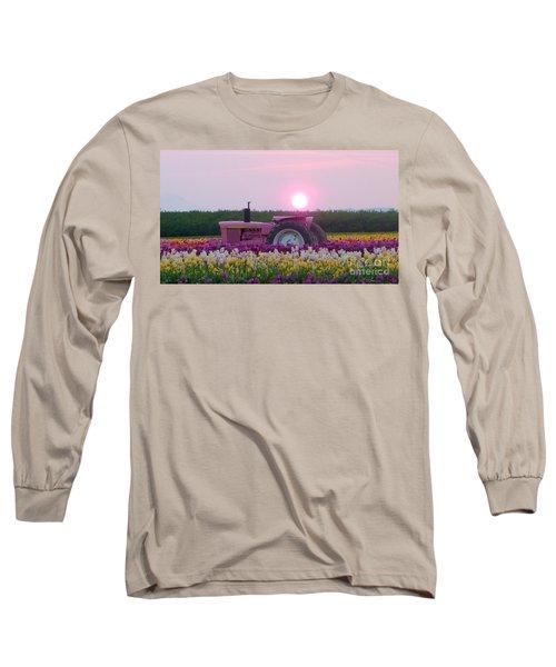 Sunrise Pink Greets John Deere Tractor Long Sleeve T-Shirt by Susan Garren