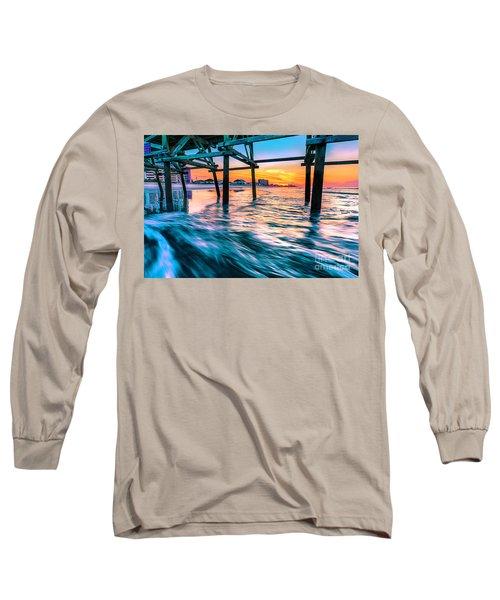 Sunrise Under Cherry Grove Pier Long Sleeve T-Shirt