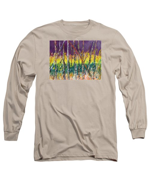 Sunset Abstract Pallet Knife Long Sleeve T-Shirt by Lisa Boyd