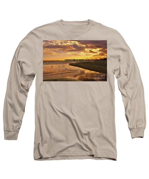 Sunset And Gulls Long Sleeve T-Shirt by Kathy Baccari