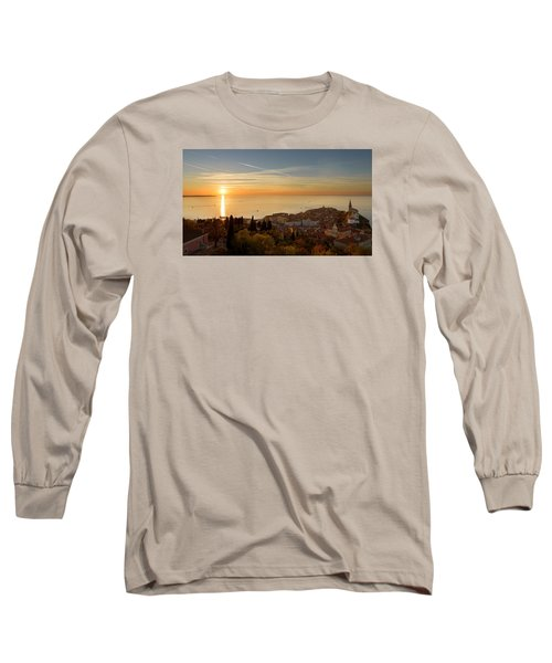 Sunset At Piran Long Sleeve T-Shirt by Robert Krajnc