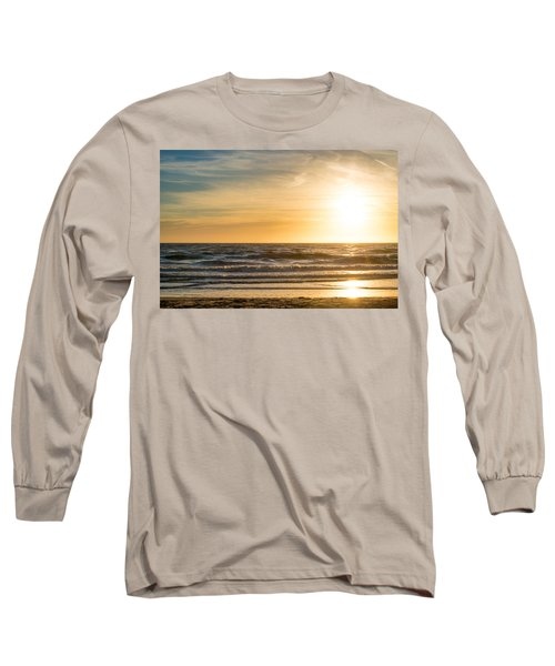 Long Sleeve T-Shirt featuring the photograph sunset at the North Sea by Hannes Cmarits