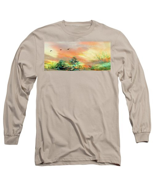 Sunset At Winter Wonderland Long Sleeve T-Shirt by Mike Breau