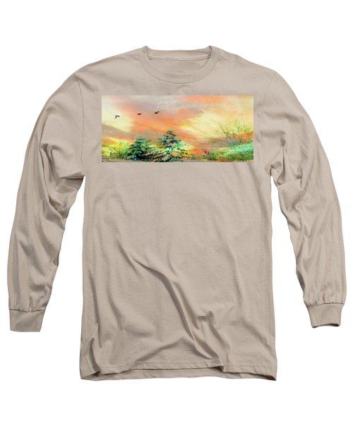 Sunset At Winter Wonderland Long Sleeve T-Shirt
