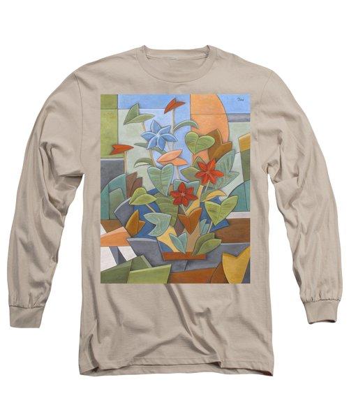 Sunset Flowerbed Long Sleeve T-Shirt by Trish Toro
