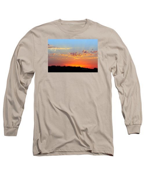 Sunset Glory Orange Blue Long Sleeve T-Shirt by Jana Russon