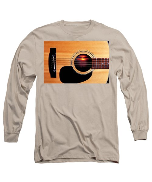 Sunset In Guitar Long Sleeve T-Shirt by Garry Gay