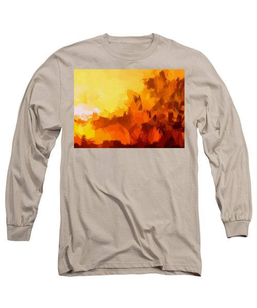 Sunset In Valhalla Long Sleeve T-Shirt by Paulo Guimaraes