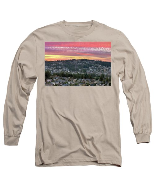 Sunset Over Happy Valley Residential Neighborhood Long Sleeve T-Shirt