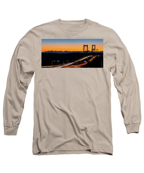Sunset Over Narrrows Bridge Panorama Long Sleeve T-Shirt