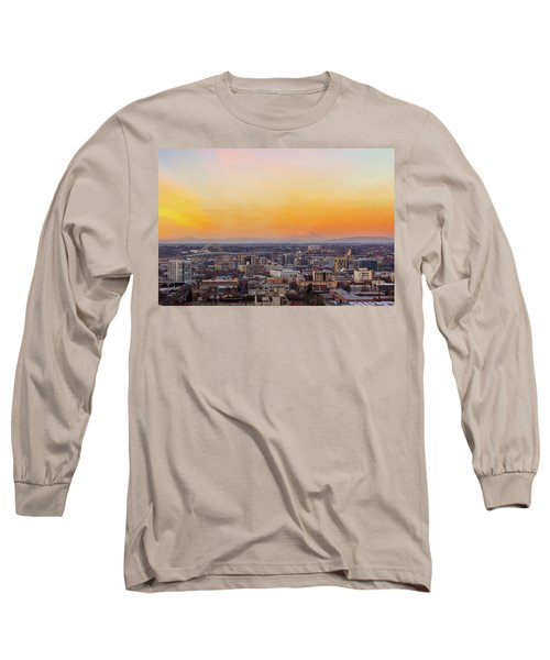 Sunset Over Portland Cityscape And Mt Saint Helens Long Sleeve T-Shirt