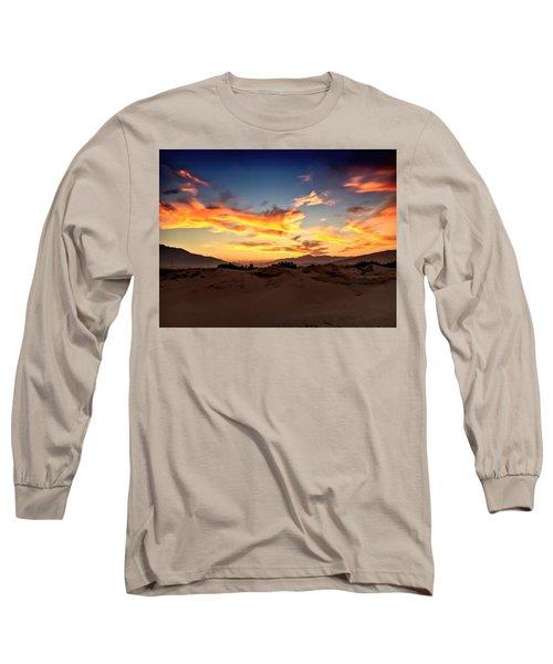Sunset Over The Desert Long Sleeve T-Shirt by Chris Tarpening