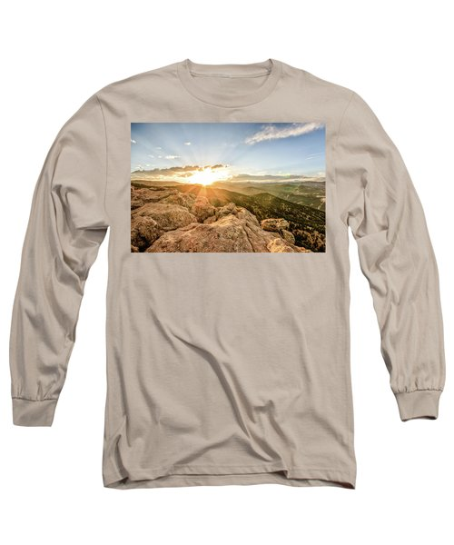 Sunset Over The Mountains Of Flaggstaff Road In Boulder, Colorad Long Sleeve T-Shirt by Peter Ciro