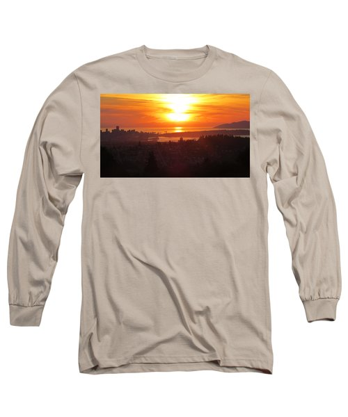 Sunset Over Vancouver Long Sleeve T-Shirt