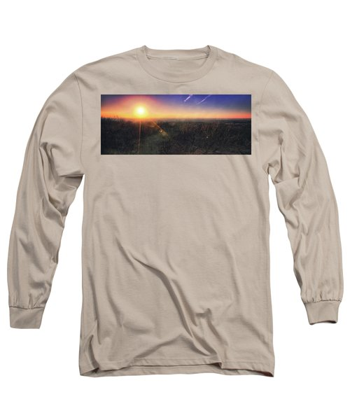 Sunset Over Wisconsin Treetops At Lapham Peak  Long Sleeve T-Shirt by Jennifer Rondinelli Reilly - Fine Art Photography