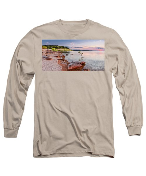 Sunset Panorama Of Canyon Lake East Shore New Braunfels Guadalupe River Texas Hill Country Long Sleeve T-Shirt