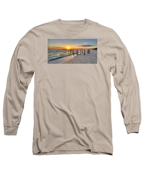 Sunset Pilings Long Sleeve T-Shirt by Sean Allen