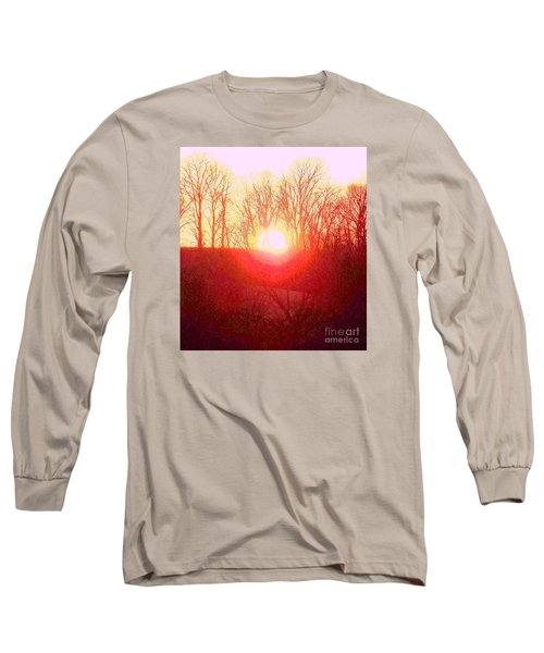 Long Sleeve T-Shirt featuring the photograph Sunset Red Yellow by Shirley Moravec