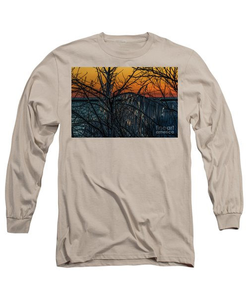 Sunset Reflecting Off Ice On Bare Trees Long Sleeve T-Shirt
