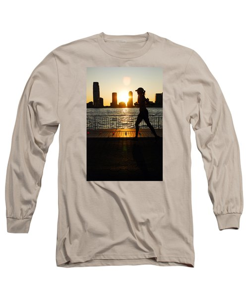 Long Sleeve T-Shirt featuring the photograph Sunset Runner by James Kirkikis