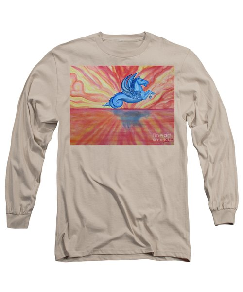 Long Sleeve T-Shirt featuring the painting Sunset Seahorse by Steed Edwards
