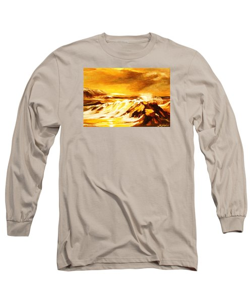 Long Sleeve T-Shirt featuring the painting Sunset Surf by Al Brown