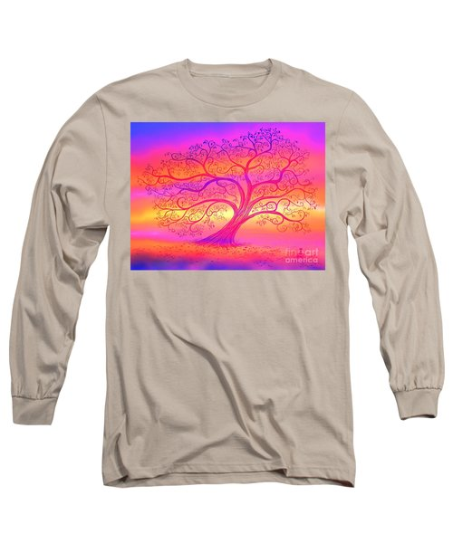 Long Sleeve T-Shirt featuring the painting Sunset Tree Cats by Nick Gustafson