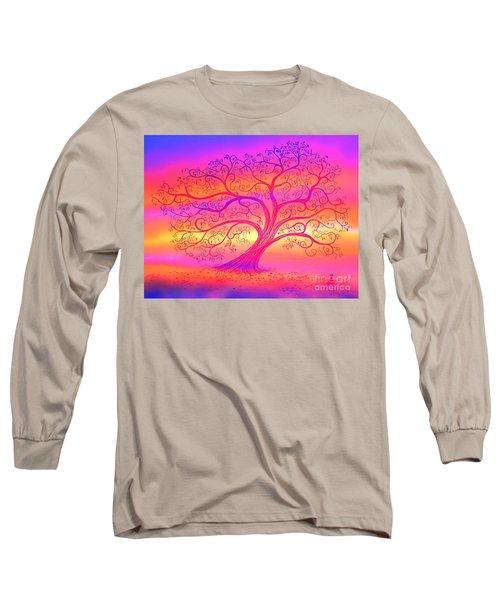 Sunset Tree Cats Long Sleeve T-Shirt