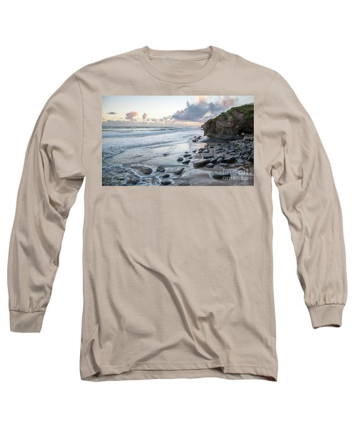 Sunset View In The Distance With Large Rocks On The Beach Long Sleeve T-Shirt