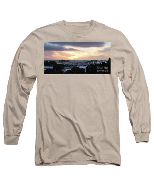 Sunset Waves, Asilomar Beach, Pacific Grove, California #30431 Long Sleeve T-Shirt