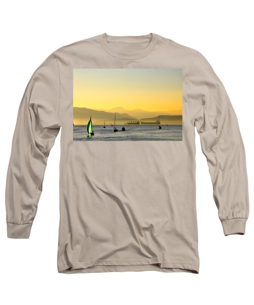 Sunset With Green Sailboat Long Sleeve T-Shirt