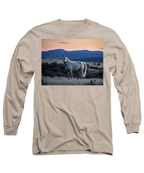 Sunset With Wild Stallion Tripod In Sand Wash Basin Long Sleeve T-Shirt