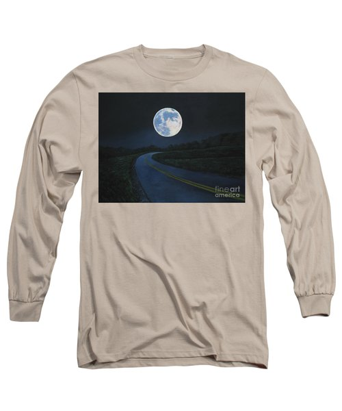 Super Moon At The End Of The Road Long Sleeve T-Shirt