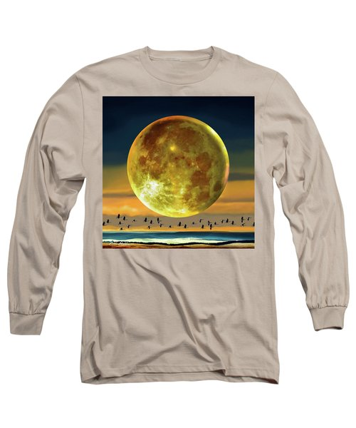 Super Moon Over November Long Sleeve T-Shirt by Robin Moline