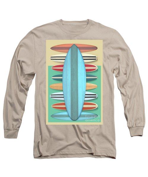 Surfboards Green Blue Design Long Sleeve T-Shirt