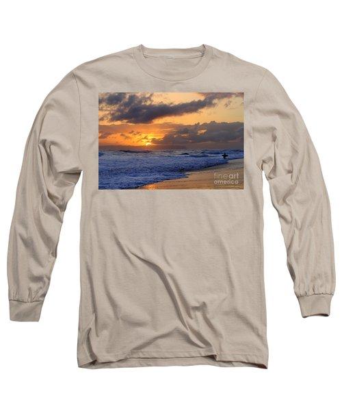Surfer At Sunset On Kauai Beach With Niihau On Horizon Long Sleeve T-Shirt by Catherine Sherman