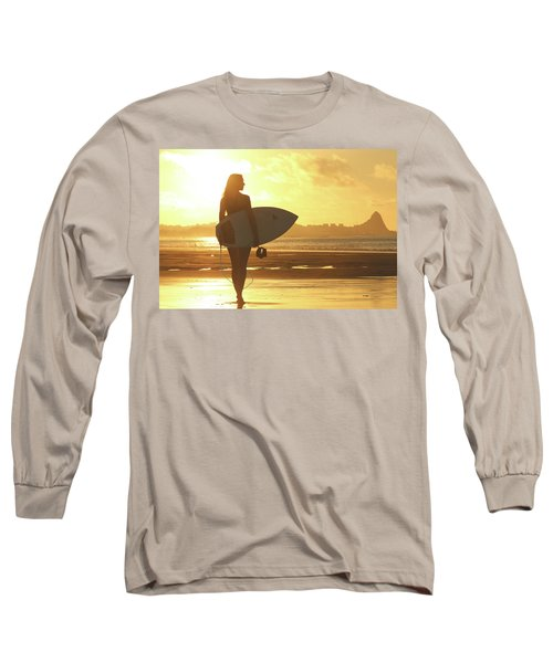 Surfer Girl On Summer Sunset Beach Long Sleeve T-Shirt