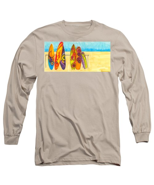 Surfing Buddies - Surf Boards At The Beach Illustration Long Sleeve T-Shirt