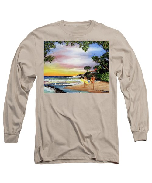 Surfing In Rincon Long Sleeve T-Shirt by Luis F Rodriguez