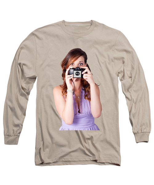 Long Sleeve T-Shirt featuring the photograph Surprised Woman Taking Picture With Old Camera by Jorgo Photography - Wall Art Gallery