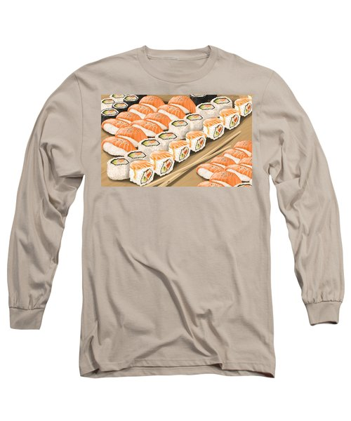 Long Sleeve T-Shirt featuring the painting Sushi by Veronica Minozzi