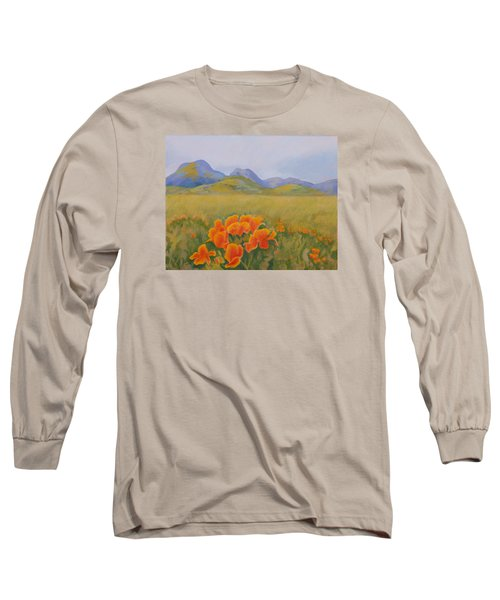 Sutter Buttes With California Poppies Long Sleeve T-Shirt