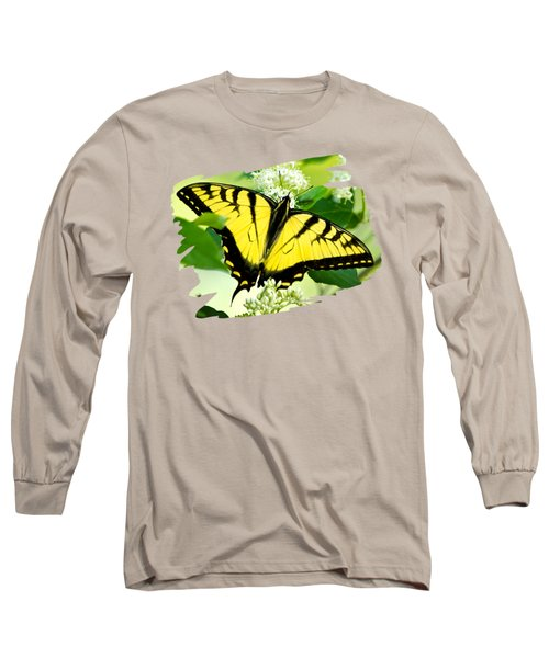 Swallowtail Butterfly Feeding On Flowers Long Sleeve T-Shirt by Christina Rollo