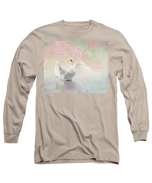 Swan Dream - Display Spring Pastel Colors Long Sleeve T-Shirt