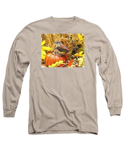Sweet Carolina Wren Long Sleeve T-Shirt by Tina  LeCour