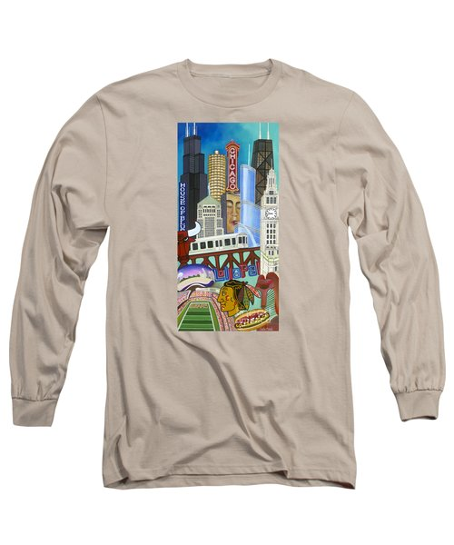Long Sleeve T-Shirt featuring the painting Sweet Home Chicago by Carla Bank